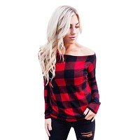 Red and Black Flannel Shirt Women's Long Sleeve