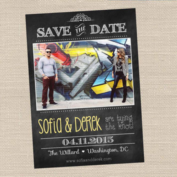 Retro Vintage Save the Date Cards Printable  // Chalkboard style