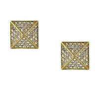 Vince Camuto Gold Tone and Crystal Pyramid Stud Earrings