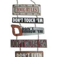 Man Cave Wood Tool Rules Wall Sign By Young