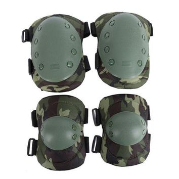 CREYON5U Tactical Military 2pcs Elbow Brace + 2pcs Knee Protective Pads Paintball Skate Airsoft Combat Elbow Support Guard Support