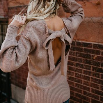 Loose Casual Sweater Women Bow O-neck Backless Sexy Pullover Sweaters Winter Clothes Women Fashion Autumn Knitwear Tops