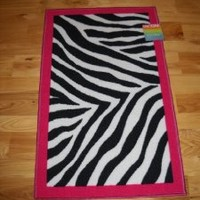 Girls Bedroom Decor Black White Zebra Stripe Throw Rug with Hot Pink Trim Teen Room