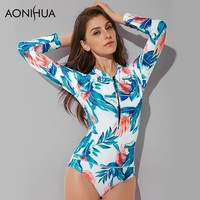 AONIHUA One Piece Swimsuits for Women 2018 Vintage Swimwear Front Zipper Female Surfing Diving Bather Long Sleeves Swimming Suit