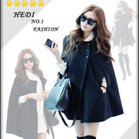 Black Blends Women Fashion Round Neck New Korean Style Button Casual Cloak Coat S/M/L/XL