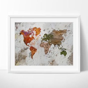 World Map Art Print,Wall Art, Large Wall Art World Map Art, Extra Large Watercolor World Map Print, Abstract World Map(234)