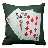 Blackjack 21 point - Ace, Queen, Ten Throw Pillow
