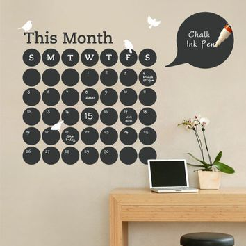 Daily Dot Chalkboard Wall Calendar  Vinyl Wall by SimpleShapes
