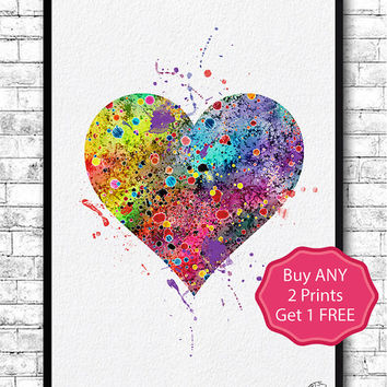 Heart Watercolor Art Print Love Home Decor Valentine's Day Wedding or Engagement Gift Badroom Decor Heart Poster Children's Wall Art Giclee
