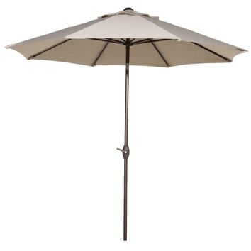 Abba Patio 9' Patio Umbrella Outdoor Table Market Umbrella with Push Button Tilt and Crank, Beige