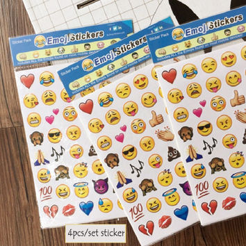 4PC/set Cute Emoji Smile Face Sticker Tablet Decals Cell Phone Decorative Sticker Diary Photo Album Stickers DIY Toy Oc19