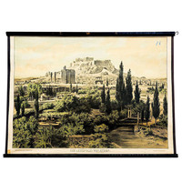 antique school wall chart - Athens with acropolis ca. 1890