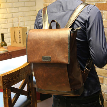 Vintage Men's Casual Laptop Bag Leather Backpack Travel