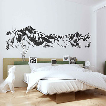 mountain Wall Decals Snowy Mountain Range Wall Art Nature wall art Mountain wall art Large Wall Decal Wall Stickers for Bedrooms kik3426