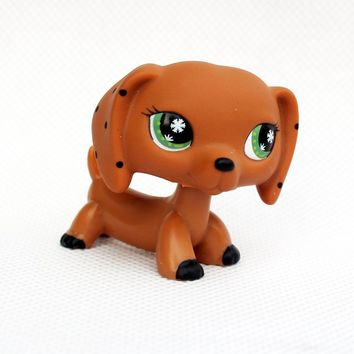 Rare Animal pet shop DACHSHUND cute little brown sausage dog snowflake eyes lps toy for kids Christmas present