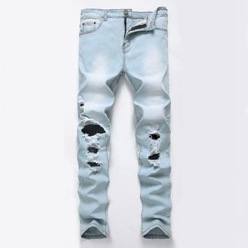 2017 Fashion Hiphop Skinny Autumn Arrival Jeans Men Patchwork hole Denim skinny Biker Trouser Slim Fit Plus size High Quality