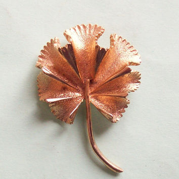 Vintage Coro Goldtone Leaf Pin-Brooch in Ginkgo Style - Signed, Dimensional, 3D