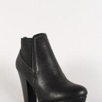Women's Bamboo Leatherette Chunky Heel Platform Bootie