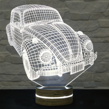 Volkswagen Beetle Shape, Bedside Lamp, 3D LED Lamp, Kids Room Decor, Art Lamp, Nursery Light, Plexiglass Lamp, Decorative Lamp, Acrylic Lamp