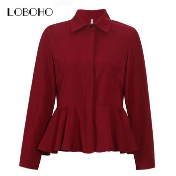Womens Tops And Blouses Spring 2018 Fashion Collar Long Sleeve Chiffon Blouse White Red Women Ruffles Casual Shirts Peplum Tops