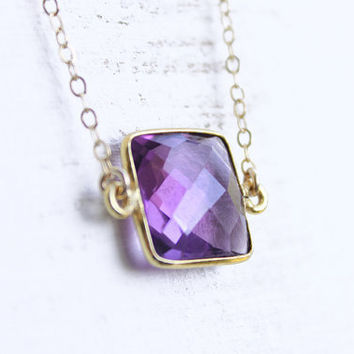 Bezel Set Amethyst Necklace faceted cushion natural by petitor