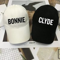 Bonnie Clyde Hat set - Matching Baseball hat , Wedding Hat, Couples Hats, Honeymoon, Low-Profile Baseball Cap Baseball Hat