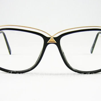 Silhouette, New Old Stock, 1980s, Vintage, Superb, Hipster, Black and Gold, Eyeglasses, Sunglasses, Frames