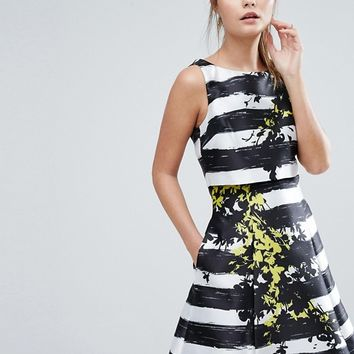 Coast Doree Stripe Flower Placement Skater Dress at asos.com