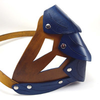 Leather Dragon Scale Lower Face Mask in Blue and Tan