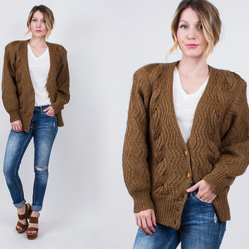 vintage 80s brown chunky knit cardigan sweater jacket cable braided fisherman wool chocolate brown grunge hipster vneck s m