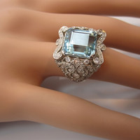 Exquisite French Edwardian Era Aquamarine Old Cut Diamond Platinum Ring