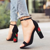 Women Fashion Embroidery Flower Rough Heel Sandals Heels Shoes