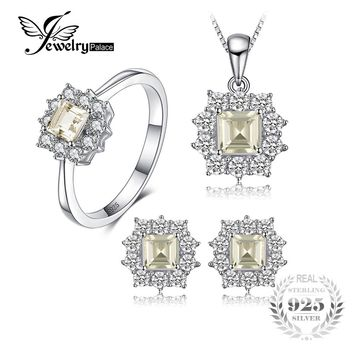 JewelryPalace 2.55ct Natural Lemon Quartz Halo Ring Stud Earrings Pendant Neckalce Chain 45cm 925 Sterling Silver Jewelry Sets