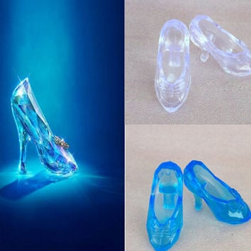 Imitation Fairy Tale Crystal Shoes For CINDERELLA Fashion Doll Shoes High Heels Sandals For Barbie Dolls Baby Toy