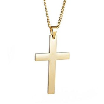 SHIP BY USPS ZX Jewelry Stainless Steel Gold-tone Cross Pendant Necklace for Men Women Simple Curb Chain