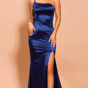 It's Your Time Navy Blue Satin Sleeveless Spaghetti Strap One Shoulder Ruched Twist Knot Side Slit Maxi Dress