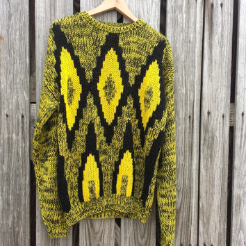Vintage UGLY Sweater - Bright Yellow & Black Geometric Diamond Pattern Sweater - SZ M