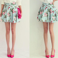 YESSTYLE: NANING9- Floral Print Pleated Skirt (Mint Green - One Size) - Free International Shipping on orders over $150