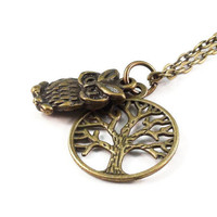 Bronze Owl Necklace, Tree of Life
