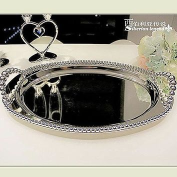 Unique Design Silver Plated decorative Serving Tray quality party supplies