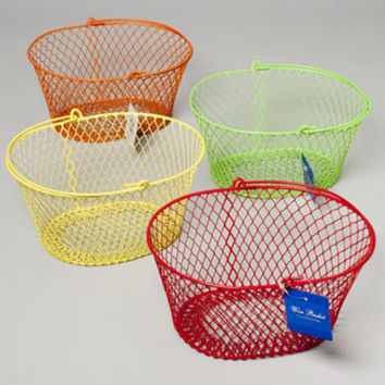 Wire Handled Basket Oval Pe Coated Wire Mesh 4 Colors Case Pack 36
