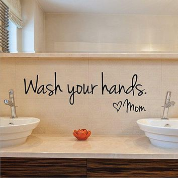 Imprinted Designs - Dolland -Wash Your Hands Love Mom Quote Bathroom Wall Stickers Waterproof Art Vinyl decal bathroom wall decor