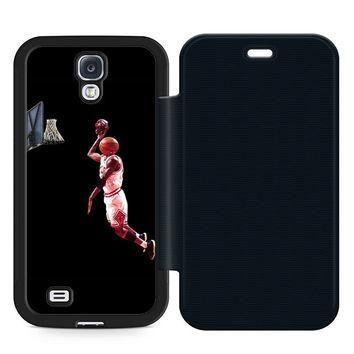 Air Jordan Logo Basketball Leather Wallet Flip Case Samsung Galaxy S4