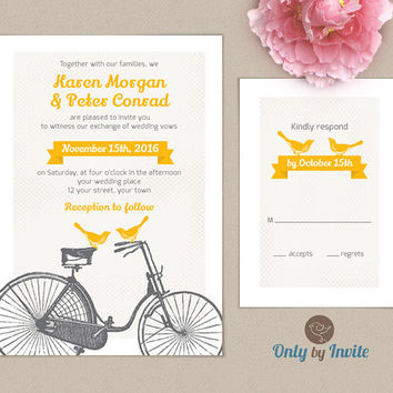 Rustic Bicycle Wedding Invitation and RSVP Set Personalized | Love bird wedding invitation | Grey and Yellow Wedding