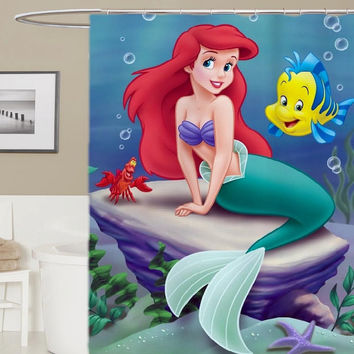 disney little mermaid custom shower curtain, curtains