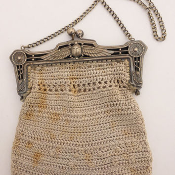 ON SALE Art Deco Egyptian Revival Scarab Crocheted Purse Signed B.M.C.O. German Silver