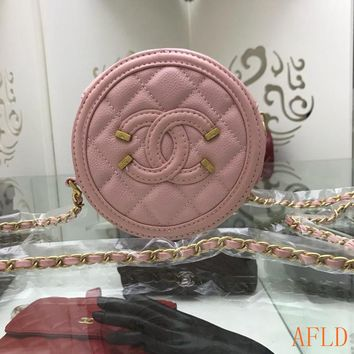 HCXX 19Aug 717 Fashion Topstitche Pattern Chain Minaudiere Clutch Bag C Logo Canteen Bag 15-15-7cm
