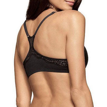Sweet Nothings Women's Close Front Lace Trim Racerback Bra, 36C, Black, 08150