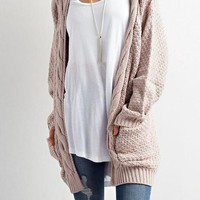 Loose Patchwork Pockets Long Sleeve Casual Cardigan Sweater