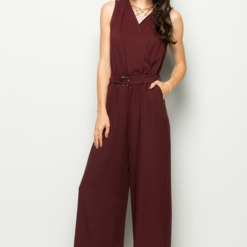 Surplice Wide Leg Burgundy Jumpsuit
